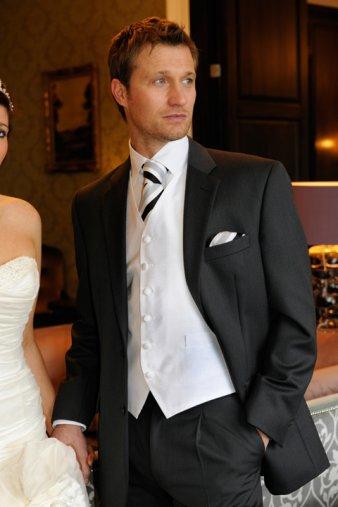 Silver suit black waistcoat