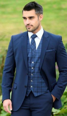 Checkmate Navy Superfine wool waistcoat .Matching tie handerkerchief or bow tie available to hire or buy.Available also Charcoal and Heritage