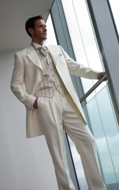 Ivory Prince Edward Jacket, Ivory Trousers, Presbury Oyster Waistcoat, Prestbury Scrunch Tie and Handkerchief