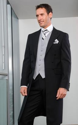 Black Frock Coat, Black Trousers, Classic Dove Grey Waistcoat, Sandown Tie and Handkerchief