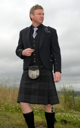 Grey Tweed Jacket, High Button Waistcoat, Grey Spirit Kilt, Black Standard Shirt, Finesse Silver Tie, Semi dress Sporan