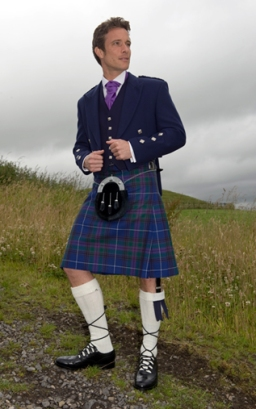 Blue Prince Charlie Jacket, High button Waistcoat, Spirit of Bannockburn Kilt, Purple Scrunch Tie, Blue Sporran
