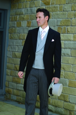 Dove Grey double breast waistcoat and top hat.
