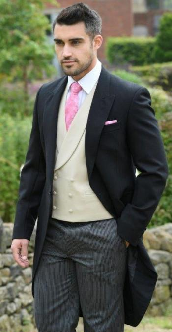 Juliet Floral Tie and hankie in pink shown with double breasted shawl gold pure wool waistcoat